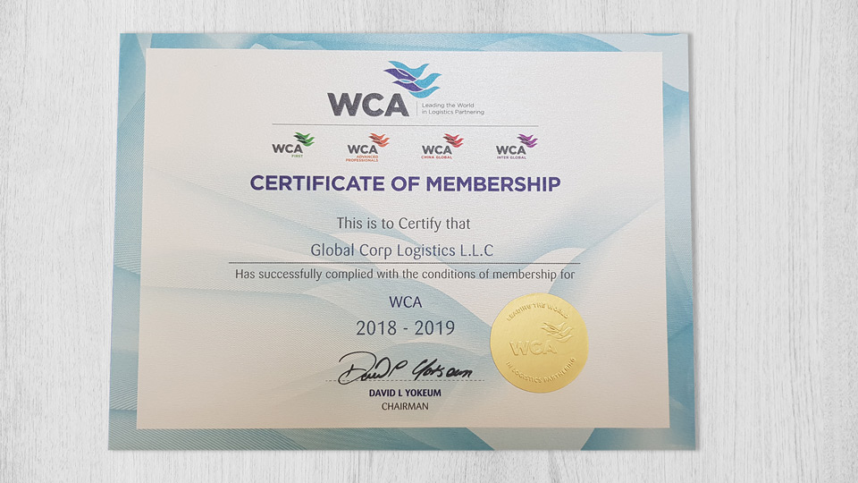WCA certificate of membership